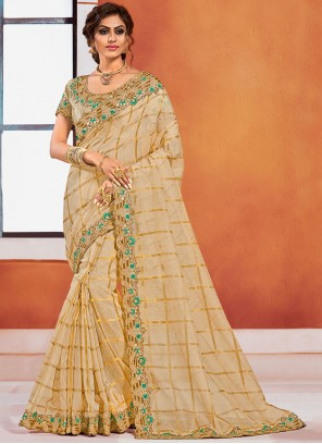 Silk Embroidered Classic Designer Saree in Gold