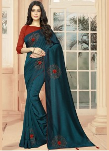 Silk Embroidered Classic Designer Saree in Teal