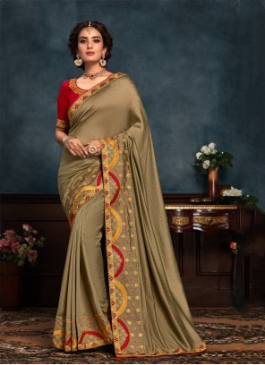 Silk Embroidered Green Classic Saree