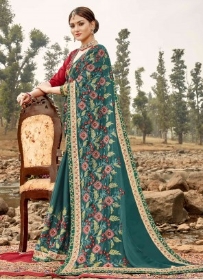 Silk Embroidered Teal Classic Saree