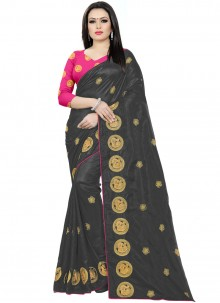 Silk Embroidered Classic Saree in Black