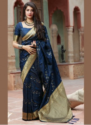 Silk Embroidered Classic Saree in Blue