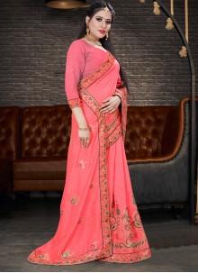 Silk Embroidered Classic Saree in Peach
