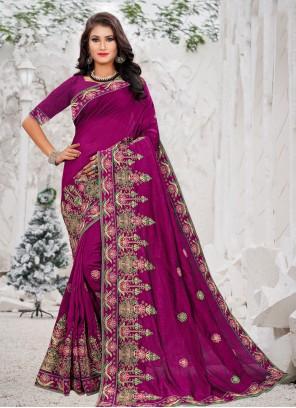 Silk Embroidered Designer Bollywood Saree in Purple