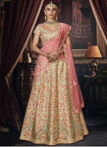 Silk Embroidered Designer Lehenga Choli in Green