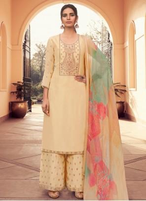 Silk Embroidered Yellow Designer Pakistani Suit