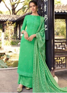Silk Embroidered Green Designer Palazzo Suit