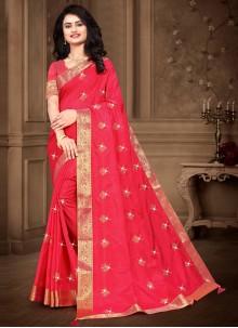 Silk Embroidered Pink Designer Saree