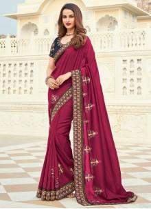 Magenta Silk Embroidered Designer Saree
