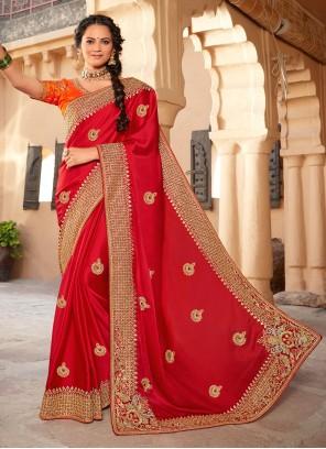Silk Embroidered Red Designer Saree