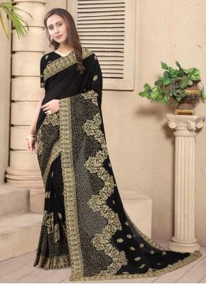 Silk Embroidered Designer Saree in Black