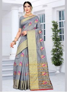 Silk Embroidered Designer Saree in Grey