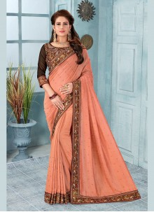 Silk Embroidered Designer Saree in Peach