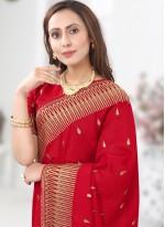 Silk Embroidered Designer Saree in Red