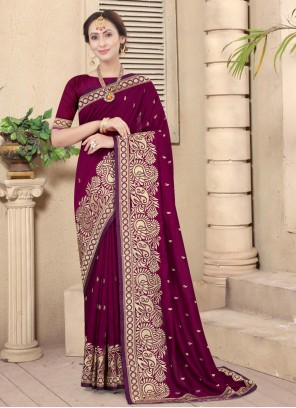 Silk Embroidered Wine Designer Traditional Saree
