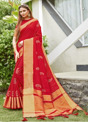 Red Silk Embroidered Designer Traditional Saree