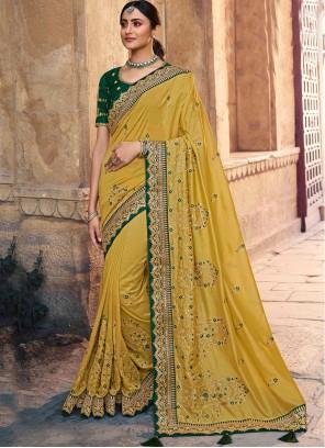 Yellow Silk Embroidered Designer Traditional Saree