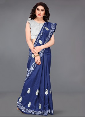 Silk Embroidered Designer Traditional Saree in Blue