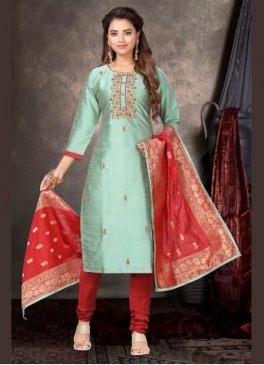 Silk Embroidered Green Churidar Salwar Kameez