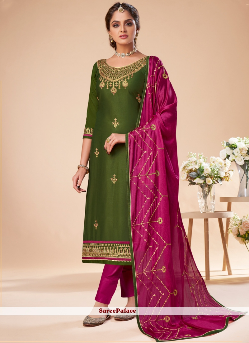 Silk Embroidered Green Designer Salwar Suit