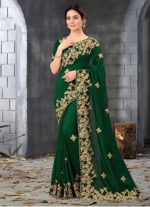 Silk Embroidered Green Designer Saree