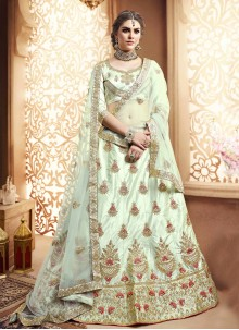 Silk Embroidered Green Lehenga Choli