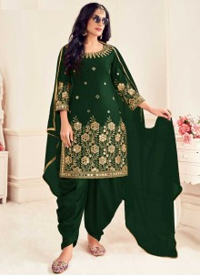 Silk Embroidered Green Patiala Suit