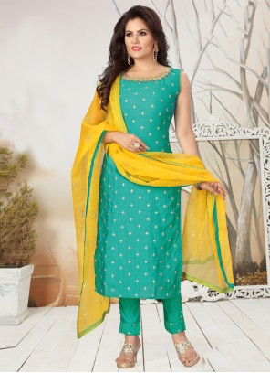 Silk Embroidered Green Readymade Suit