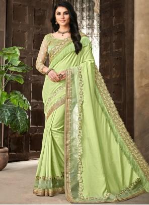Silk Embroidered Green Silk Saree