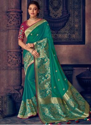 Silk Embroidered Green Traditional Designer Saree