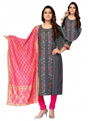 Silk Embroidered Grey Churidar Salwar Suit