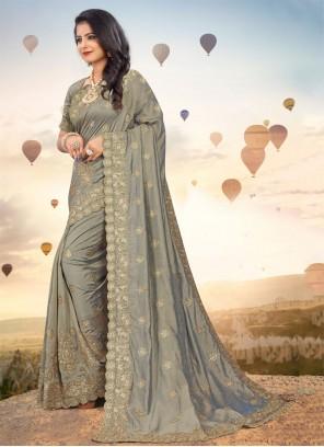 Silk Embroidered Grey Classic Saree