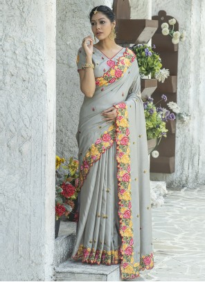 Silk Embroidered Grey Traditional Saree
