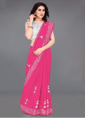Silk Embroidered Hot Pink Designer Traditional Saree