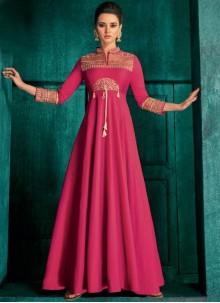 Silk Embroidered Magenta Anarkali Salwar Suit