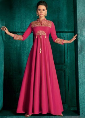 Silk Embroidered Magenta Anarkali Salwar Suit