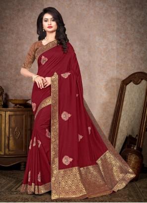 Silk Embroidered Maroon Bollywood Saree