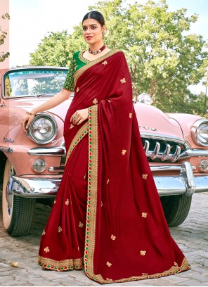 Silk Embroidered Maroon Contemporary Saree