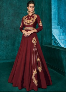 Silk Embroidered Maroon Trendy Anarkali Salwar Kameez