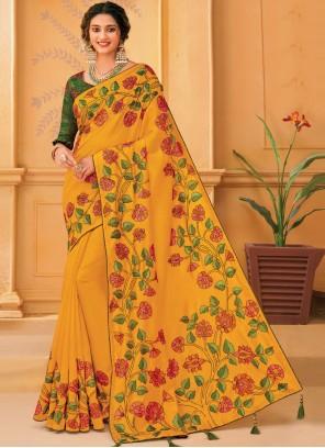 Silk Embroidered Mustard Traditional Designer Saree