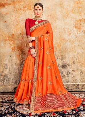 Silk Embroidered Orange Classic Saree