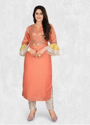 Silk Embroidered Pant Style Suit in Peach