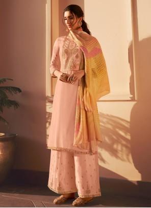 Silk Embroidered Peach Designer Pakistani Suit