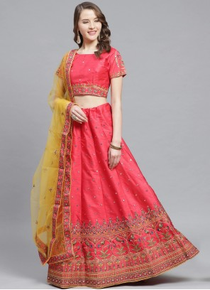 Silk Embroidered Pink Trendy Lehenga Choli