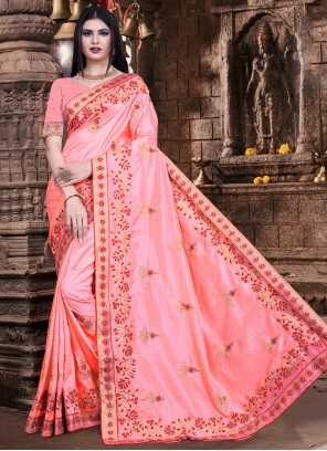 Silk Embroidered Pink Trendy Saree