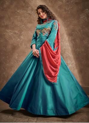 Silk Embroidered Readymade Anarkali Salwar Suit