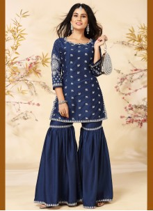 Silk Embroidered Readymade Suit in Blue