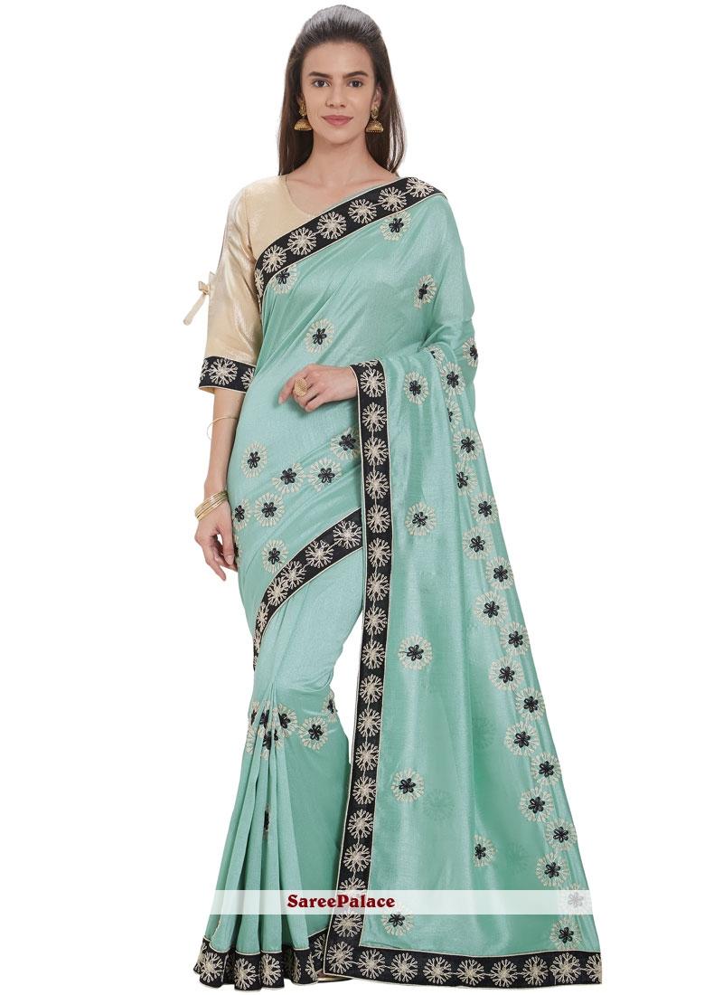 Silk Embroidered Sea Green Casual Saree