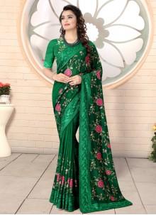 Silk Embroidered Sea Green Designer Saree
