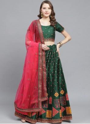 Silk Embroidered Sea Green Trendy Lehenga Choli